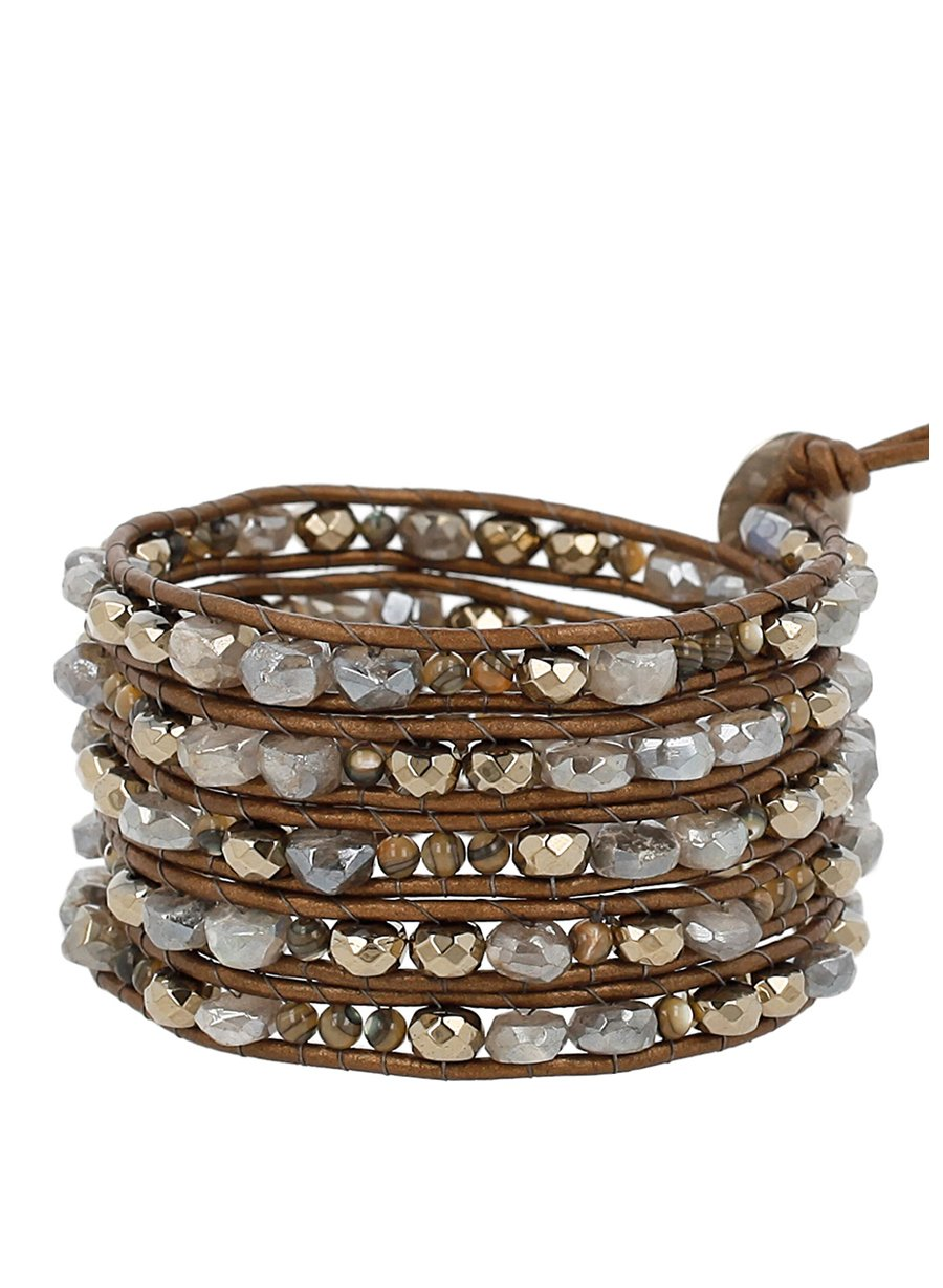 Chan Luu Pyrite Mix of Semi Precious Stones Leather Brown Wrap Bracelet