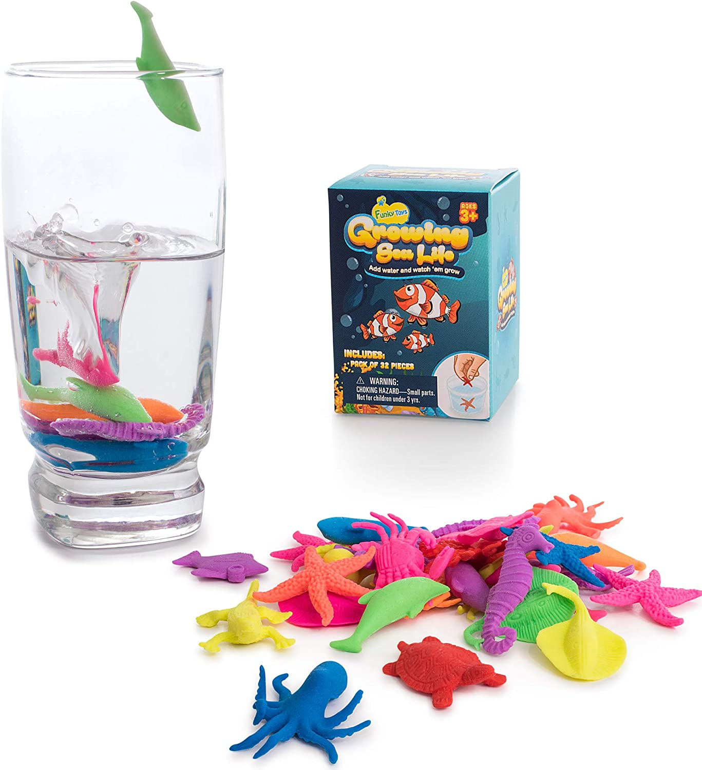 Water Growing Sea Creatures Animals - 32 Pack - Expandable Oceanic Under The Sea Animals - Fun in The Bathtub - Party Supplies Favors - Gift for Toddlers Children Boys and Girls - Easter Egg Fillers