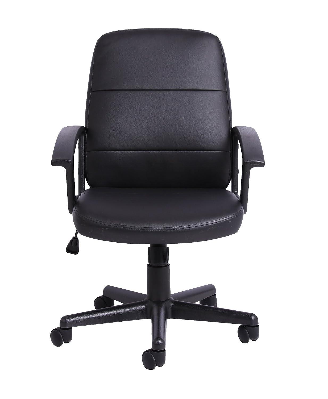 Noir Chaise de Bureau Manager /à Hauteur Ajustable en Simili Cuir avec Poign/ée de Contr/ôle de la Rotation Office Essentials