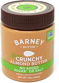 product image for BARNEY Almond Butter, Bare Crunchy, No Sugar No Salt, Paleo, KETO, Non-GMO, Skin-Free, 10 Ounce