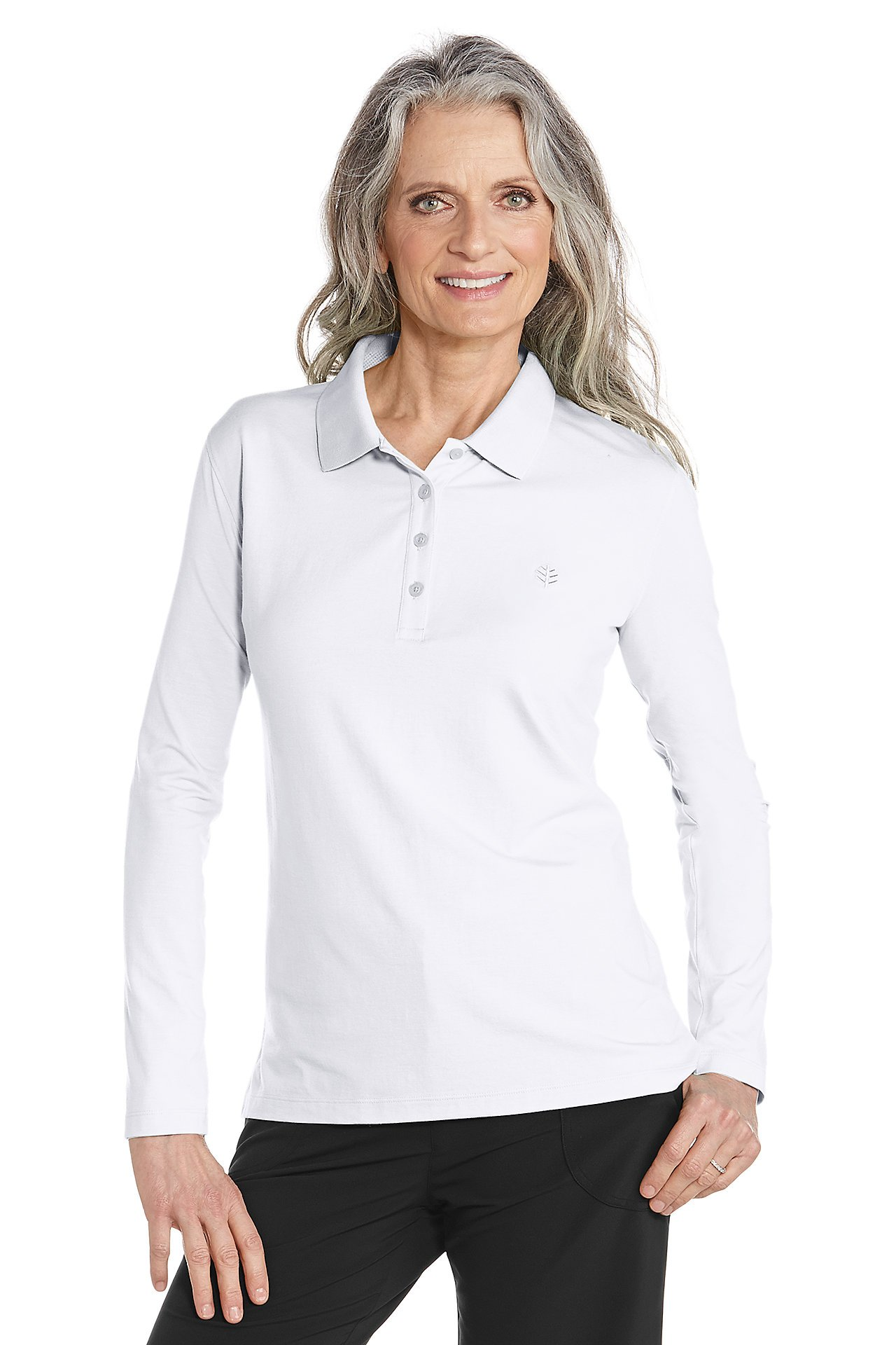 Coolibar UPF 50+ Women's Long Sleeve Polo Shirt - Sun Protective (2X - White)