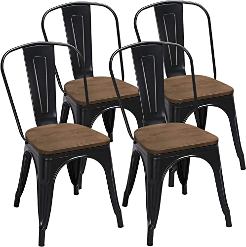 Yaheetech 18 Inch Iron Metal Dinning Chair Indoor/Outdoor Chairs Patio Chairs Kitchen Dinning Room Chairs Bistro Cafe Side Barstool Bar Chair Coffee Chair Black