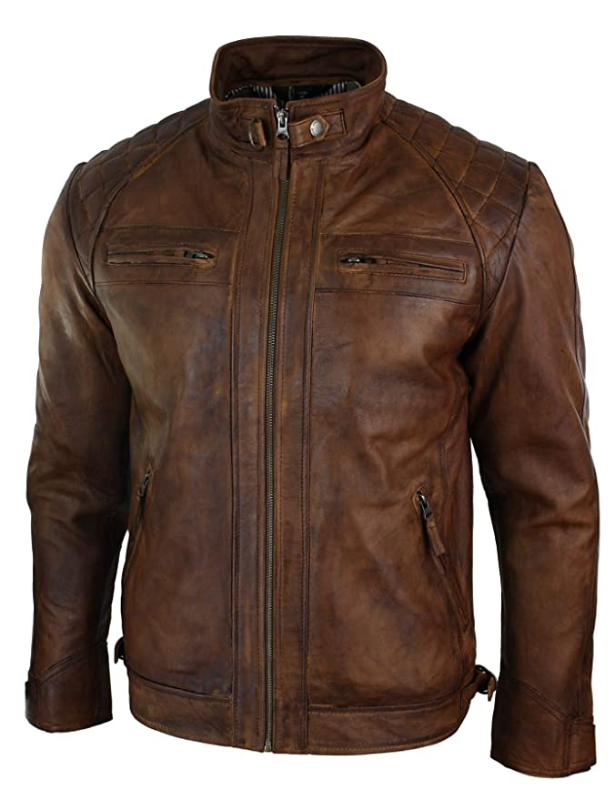 f3fd661e4 Aviatrix Mens Retro Style Zipped Biker Jacket Real Leather Washed Soft Tan  Brown Casual