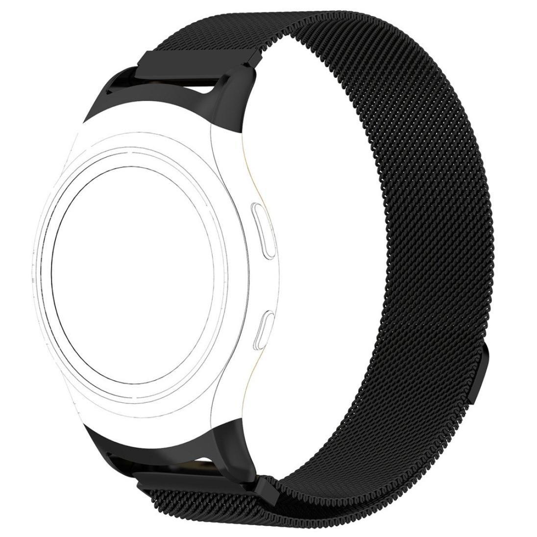 Voberry Magnetic Mesh Loop Milanese Stainless Steel Bracelet Strap For Samsung Gear S2 SM-R720/SM-R730 (Black)