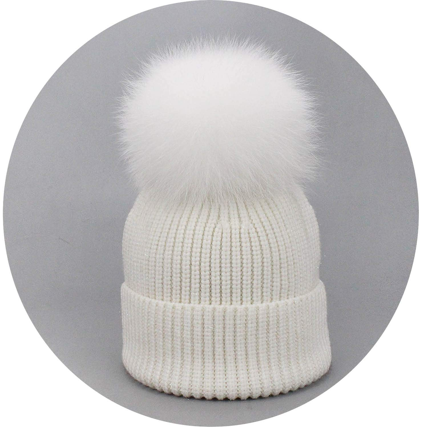 Womens Winter Hats Solid Autumn Winter Real Fox Raccoon Fur Pompom Skullies