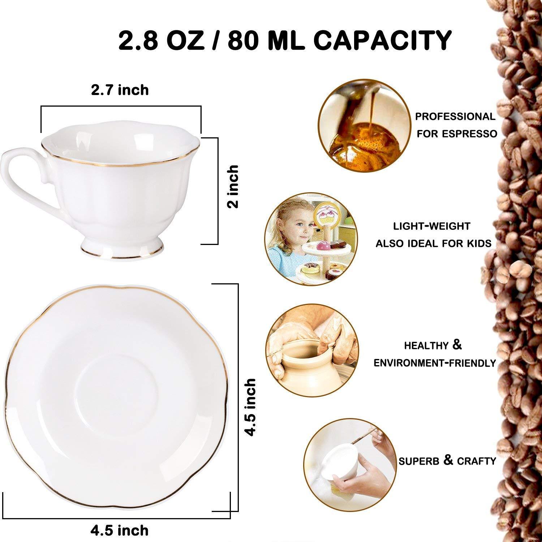 Helados Cucharillas de T/é 4,5 Pulgadas Para Juego de 6 Tazas de Caf/é T/é Cucharas Curvil/íneas de Cer/ámica Tapas Yogurt Blanco de Hueso Nuevo
