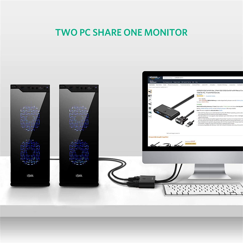 UGREEN VGA Switch, VGA Conmutador 2 Entradas a 1 Salida o 1 Entrada a 2 Salidas, Ladron VGA para Conectar Uno Ordenador a Dos Proyectores o Dos Ordenadores a un Monitor 1920x1440 @