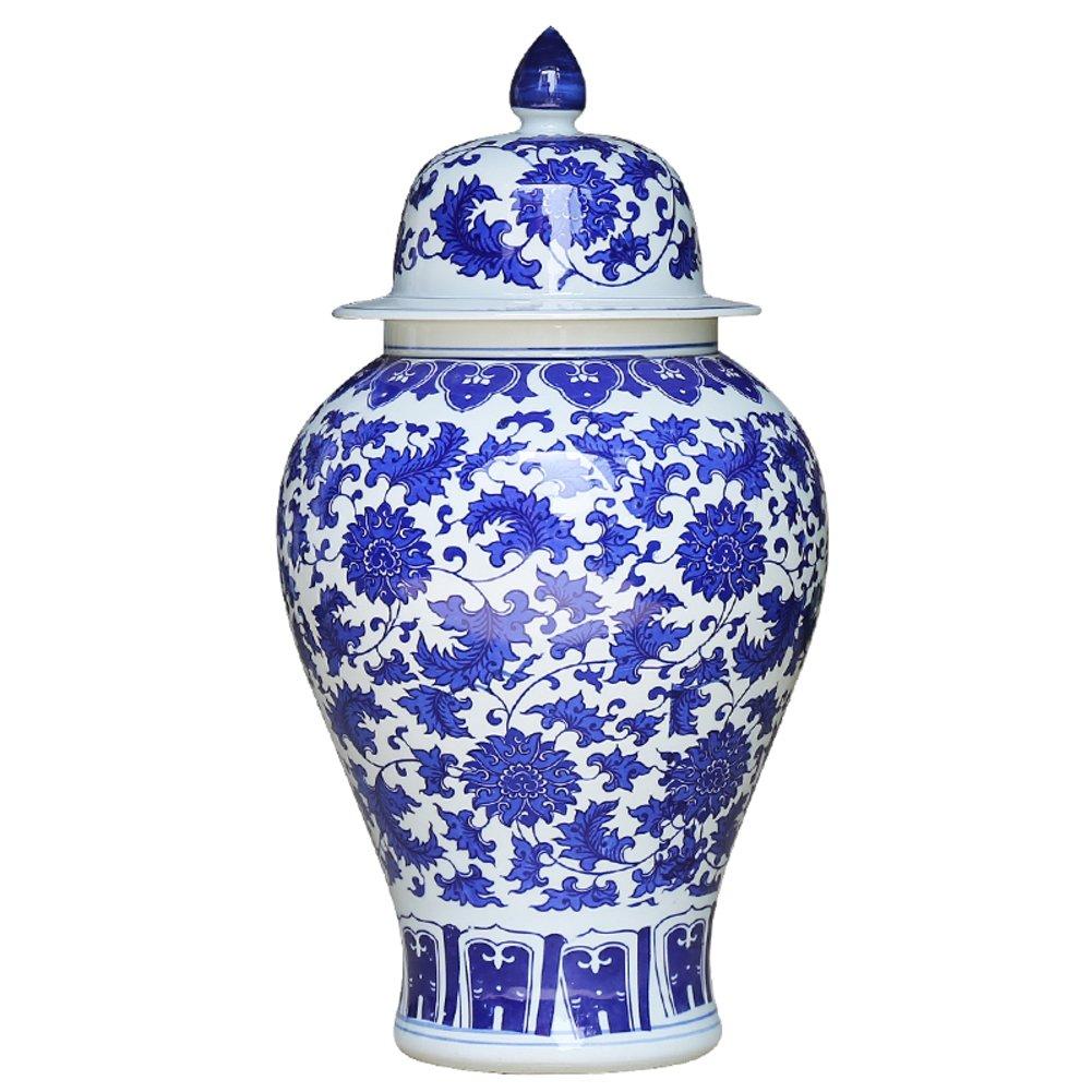 Decor Antique C/éramique Classique Bleu et Blanc Porcelaine Vase,Vase en Porcelaine Moderne Artisanat c/éramique Pot de th/é Pot de Bonbons pour Salon,Bureau ou /à Domicile-B 46cm