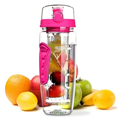 OMORC 32 OZ Sport Fruit Infuser Water Bottle, Flip Top Lid & Dual Anti-Slip Grips, BPA Free Infuser Water Bottle, Free Recipes and A Cleaning Brush Gifts, Ideal for Your Office and Home