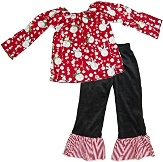 product image for Cheeky Banana Sweet Little Girls Snowman Top & Minky Ruffle Pants-Red/Black