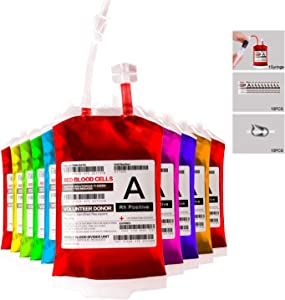 Blood Bag for Drinks,Reusable Halloween Drink Pouches,IV Blood Bags Set of 10,Heavy Duty,Reclosable,for Halloween,Costume Props,Halloween Party Favors