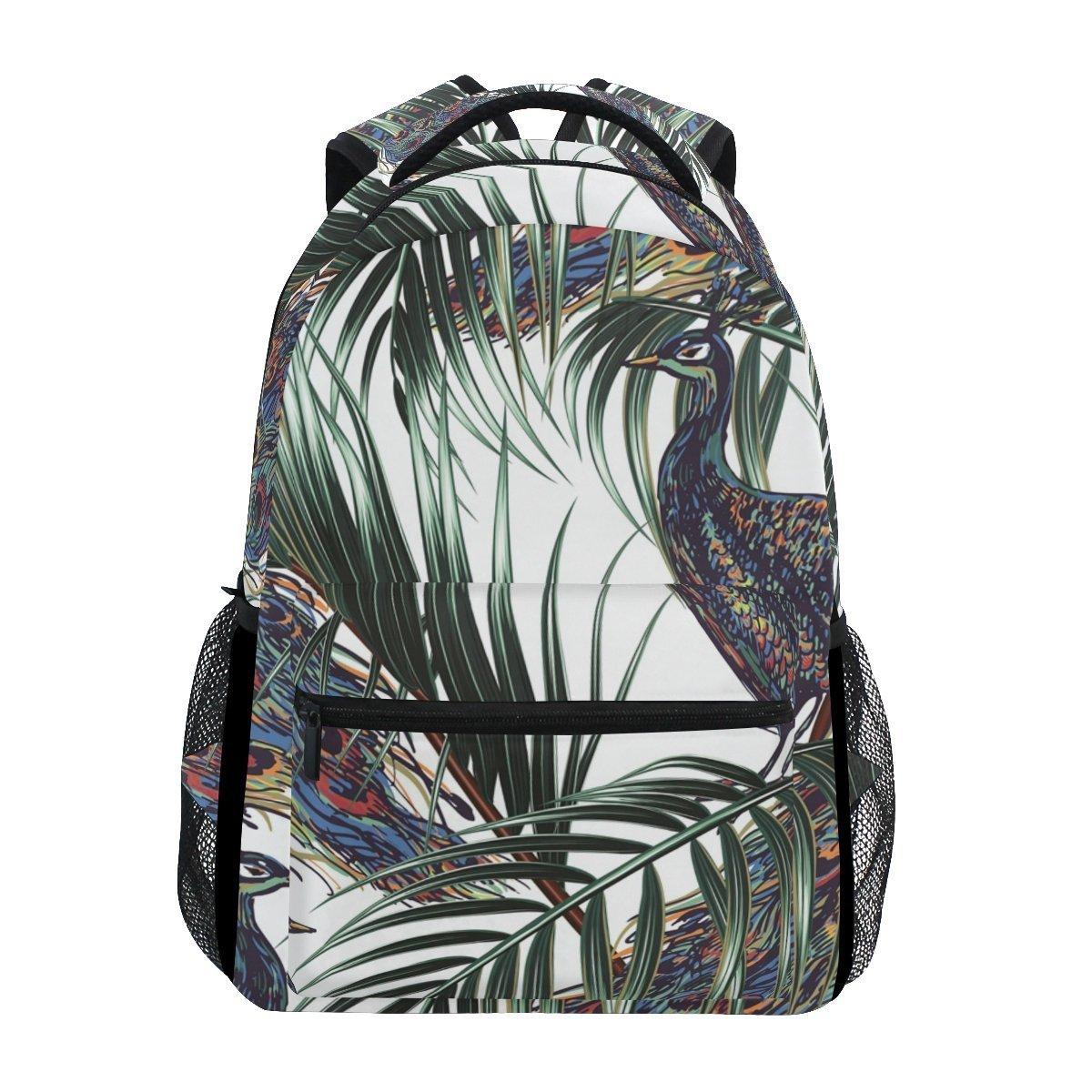 Laptop Backpack Lightweight Waterproof Travel Backpack Double Zipper Design with Peacock Under The Luminous Light School Bag Laptop Bookbag Daypack for Women Kids