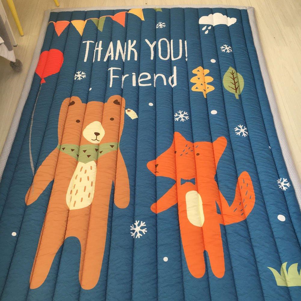 IHEARTYOU Bear Fox Printed Crawling Mats Cute Animal Play Mat Floor Activity Mats Non-slip Travel Indoor Outdoor Picnic Mats