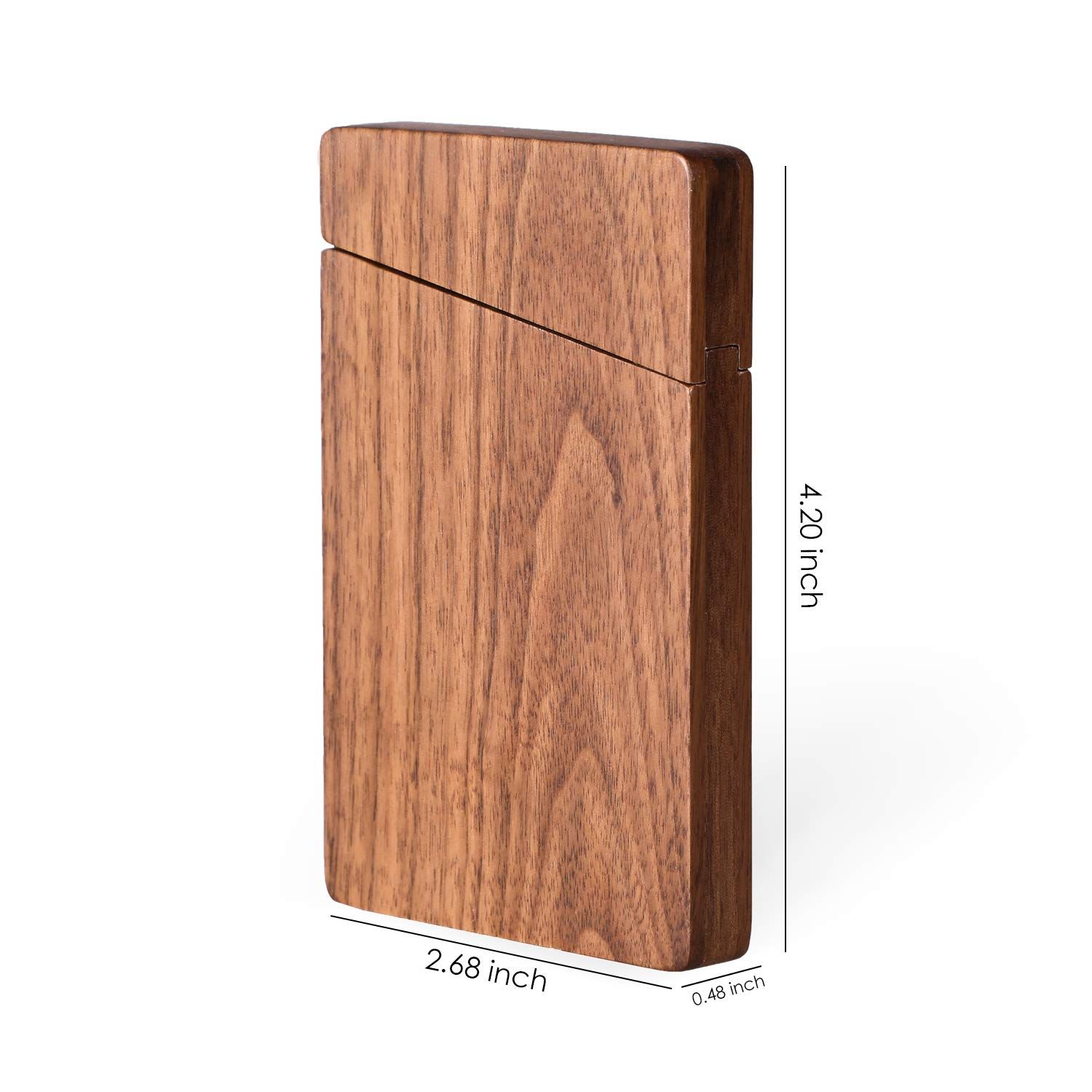 83e06b6d726d MaxGear Wood Business Card Holder Wood Business Card Case Card Carrier with  Magnetic Closure - Walnut