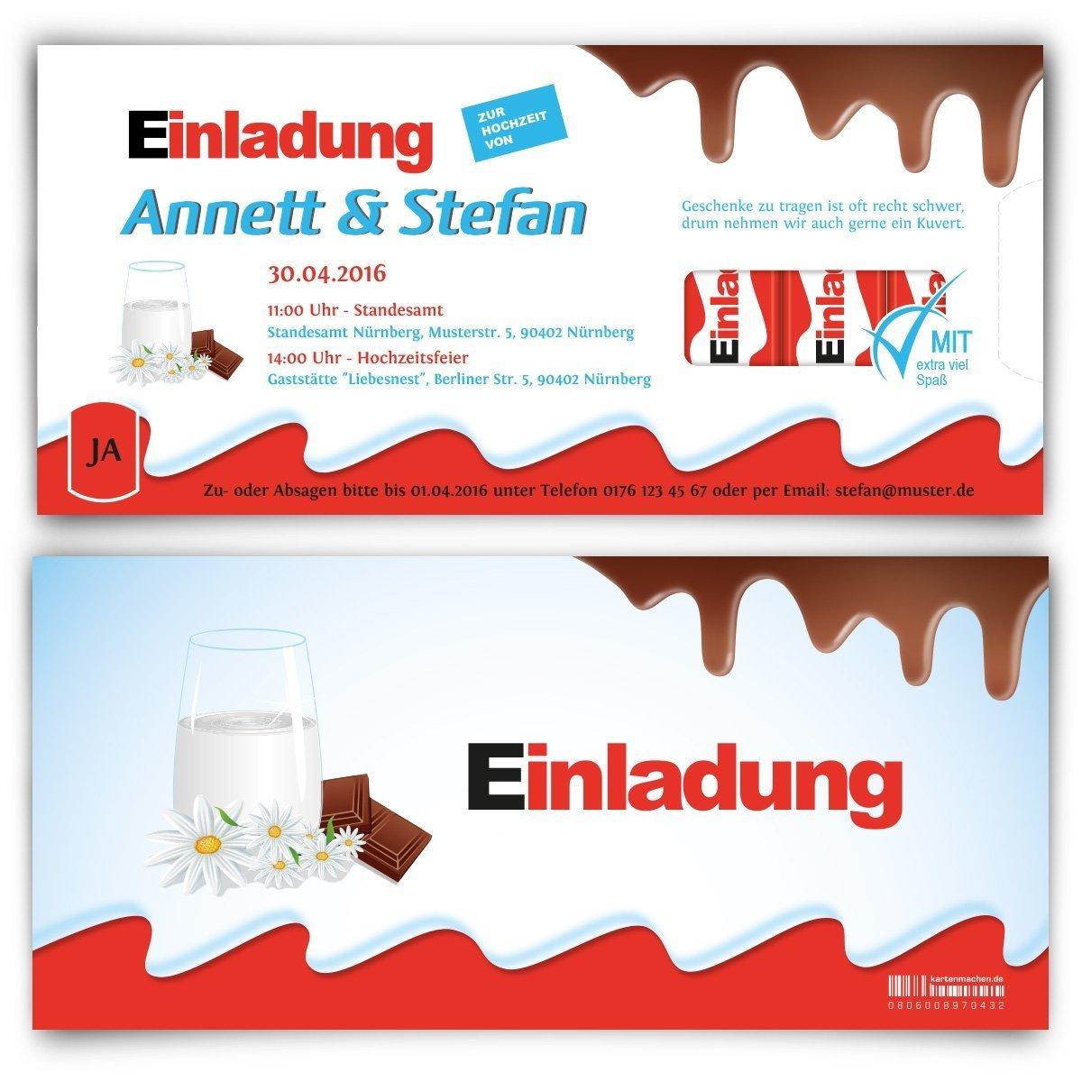 Hochzeitseinladungen (30 Stück)   Schokolade Für Kinder U2013 Einladungskarten  Zur Hochzeit