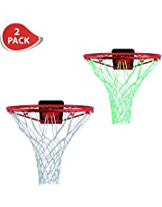ETCBUYS 1 Glow in The Dark Basketball Net & 1 Heavy Duty Net Replacement - 2 Pack- Outdoor Net and Basketball Hoop Accessories, Standard Regulation Size for Outside Basketball Rims and Kids Backboard (Rim Not included)