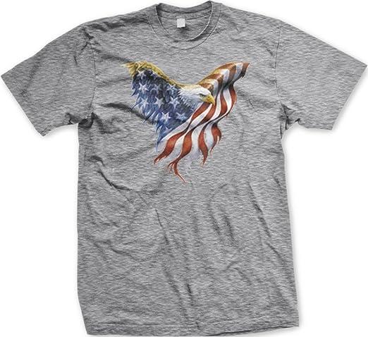 Bandera Americana águila calva Estados Unidos Pride camiseta, color gris: Amazon.es: Ropa y accesorios