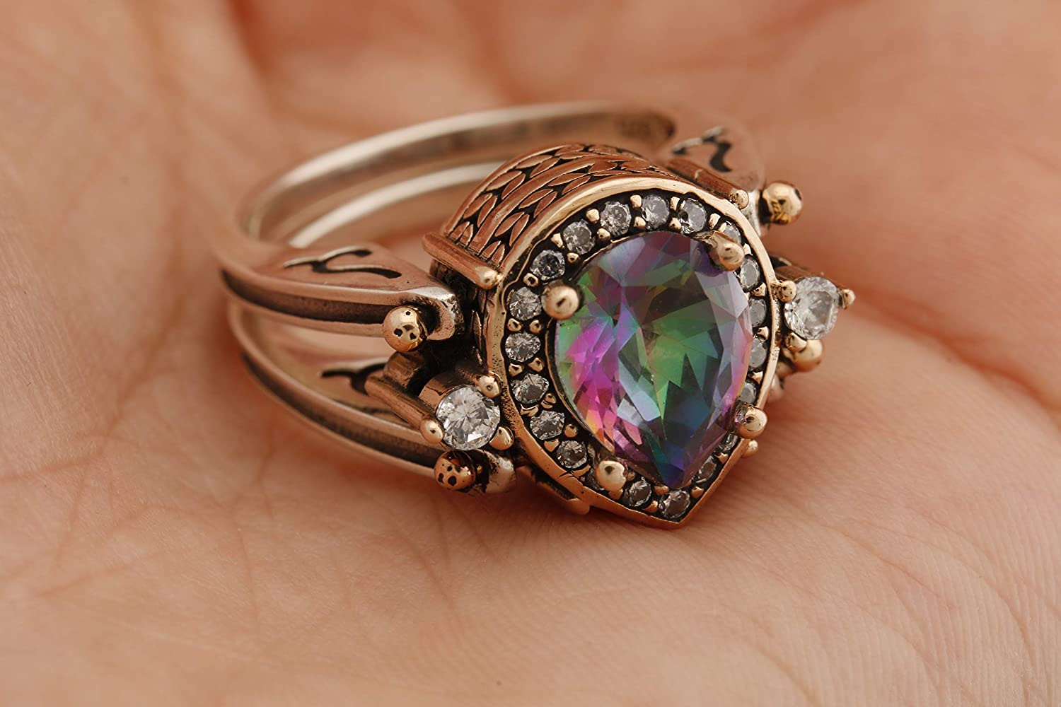 Turkish Jewelry Handmade 2 rings in 1 ring Reversible Drop Shape Pear Cut Shiny Alexandrite and Topaz 925 Sterling Silver Ring Size All