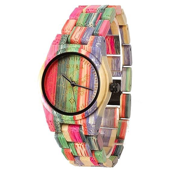 FunkyTop Mujeres de madera reloj 100% a mano natural bambú multicolores de  cuarzo analógico Relojes  Amazon.es  Relojes 580793cf9fa8
