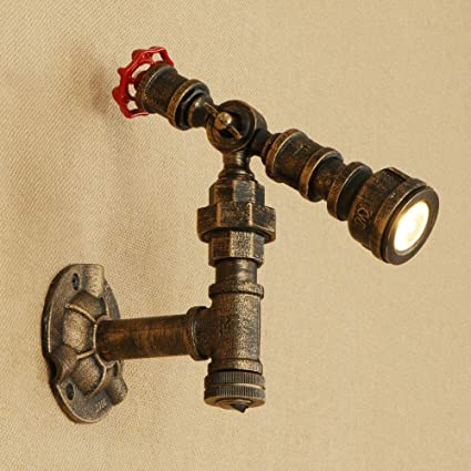Steam Punk Loft Industrial Iron Rust Water Pipe Retro Wall Lamp Vintage Ajustable Led Sconce Wall Lights Living Room Bedroom Bar Led Indoor Wall Lamps Led Lamps