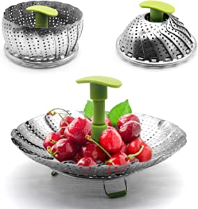 "Collapsible Vegetable Steamer Basket -100% Stainless Steel - Vegetable Steamer Basket Folding Steamer Insert for Veggie Fish Seafood Cooking, Expandable to Fit Various Size (5.5"" to 9"")"