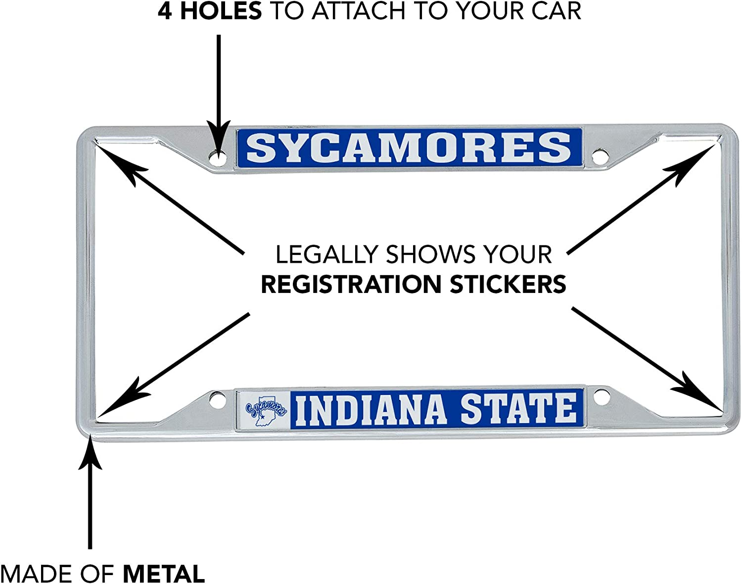 Mascot Desert Cactus Indiana State University ISU Sycamores NCAA Metal License Plate Frame for Front Back of Car Officially Licensed