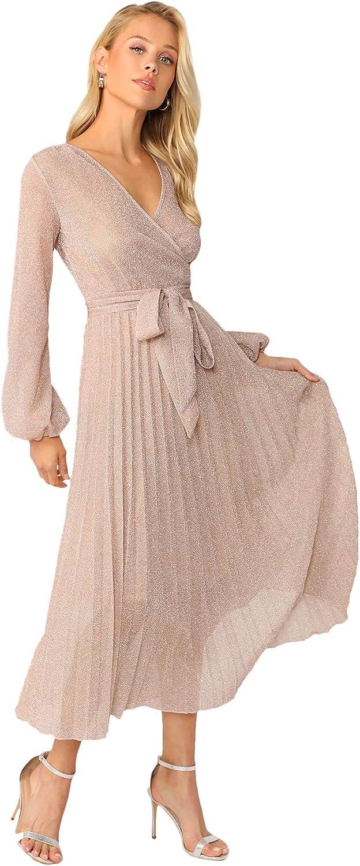 DIDK Femme Robe Mi Longue Cache-C/œur Brillante Scintillante Pliss/ée Col Fond V avec Manches Bouffantes Et Ceinture pour Mariage Soir/ée