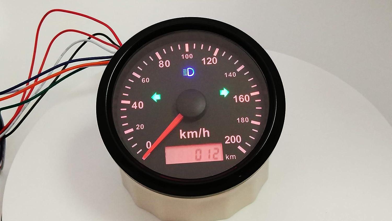 Eling Gps Tachometer 200km H Für Auto Motorrad Odo Kilometerstand Einstellbar 85mm 12v 24v Wasserdicht Gewerbe Industrie Wissenschaft