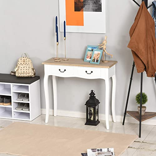 HOMCOM Entryway Console Table with 2 Convenient Storage Drawers, Tabletop for Display, Vintage Design, White
