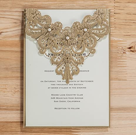 Amazon wishmade 50x elegant gold laser cut wedding invitation wishmade 50x elegant gold laser cut wedding invitation cards kits with pearl lace flowers cardstock for stopboris Choice Image