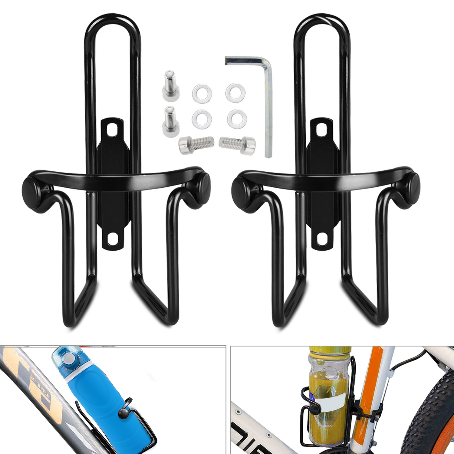 Bicycle Bike Water Bottle Cage, WisFox 2 Pack Alloy Updated Bicycle Bike Water Bottle Holder Cage for Road and Mountain Bikes