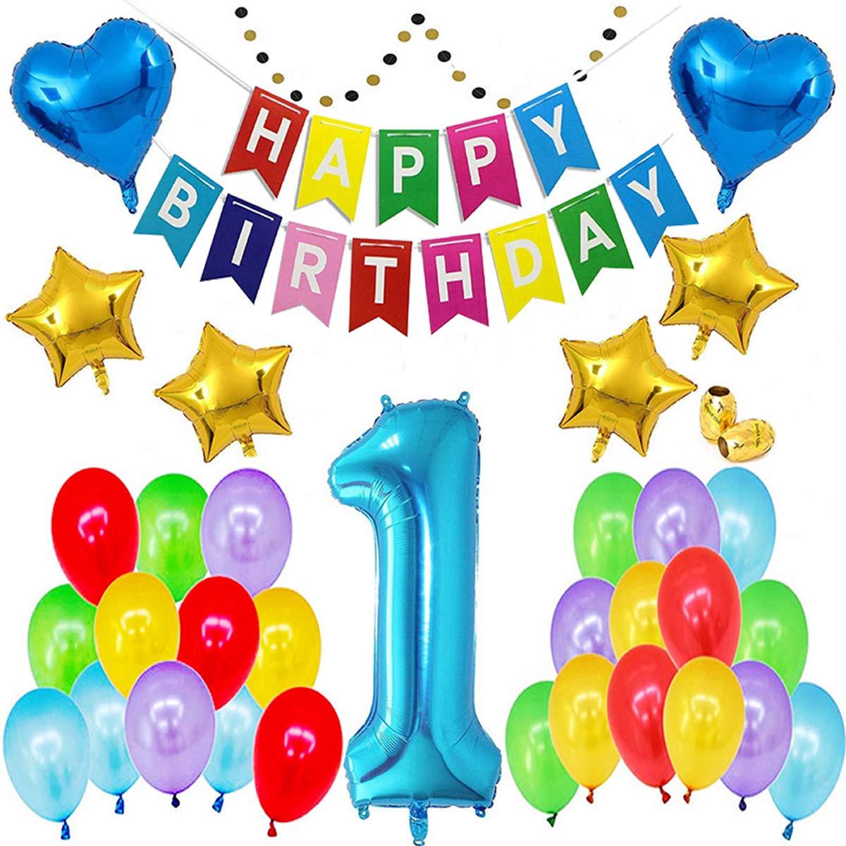 Skaine 1er Cumpleaños Globos Decoracion,Cumpleaños del niño de 1 Año Bebe Niño y Niña Banner de Feliz cumpleaños(36Pcs)