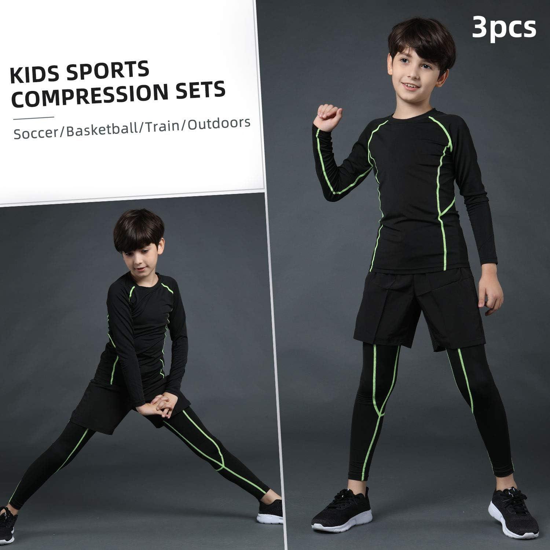 2//3//4 Pcs Boys Girls Athletic Compression Leggings and Shirts Running Pants Tights Base Layer Thermal Set