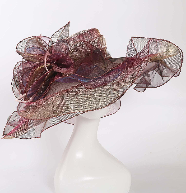 ORIDOOR Women Organza Church Hat Wide Brim Ruffles Kentucky Derby Fascinator Hats for Wedding
