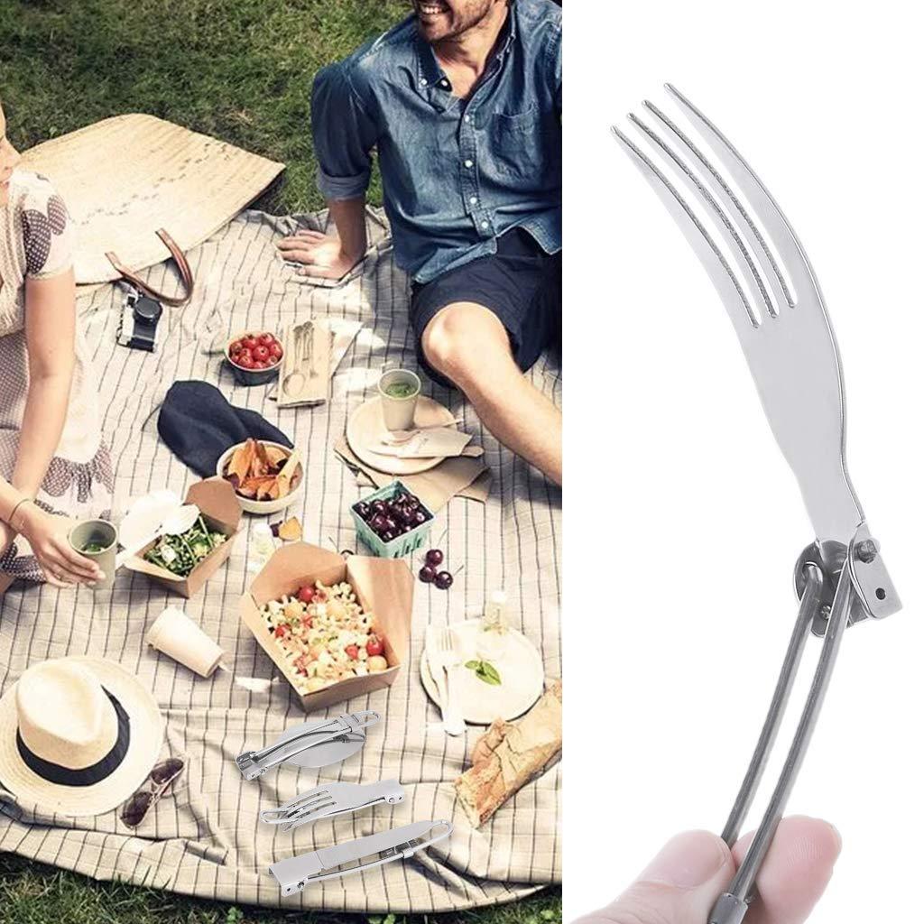 Generic Ste - Posate pieghevoli in acciaio INOX, 3 pezzi, per picnic, campeggio, picnic