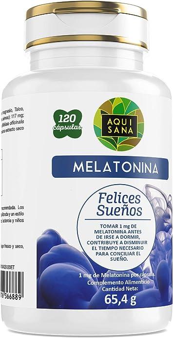 AquiSana, Melatonina, Valeriana y Tila , Antioxidante Natural, 120 Cápsulas: Amazon.es: Salud y cuidado personal