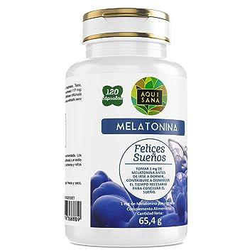 AquiSana, Melatonina, Valeriana y Tila , Antioxidante Natural, 120 ...