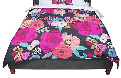 KESS InHouse Louise Flower I Black Multicolor King 104 X 88 Cal King Comforter