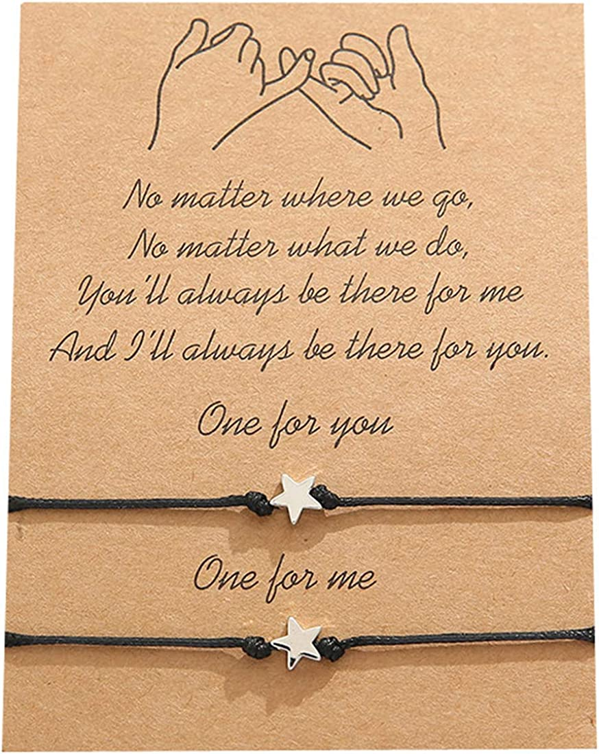 Pinky Promise Bracelet for 2 Handmade Friendship Couple Distance Matching Bracelets Graduation Family