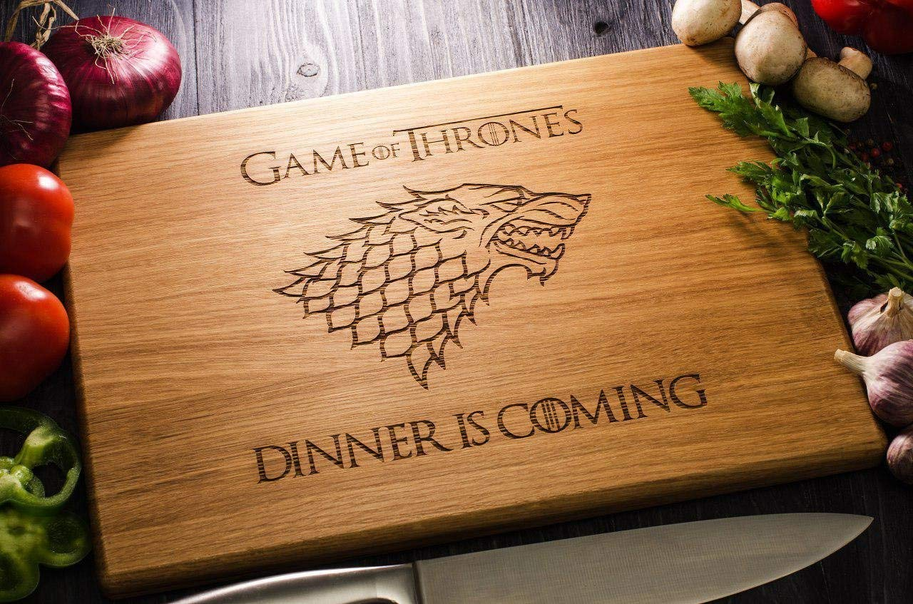 Personalized Cutting Board Dinner is coming Game of thrones House Stark Direwolf Engraved Custom Family chopping Wedding Gift Anniversary Housewarming Birthday Christmas game10