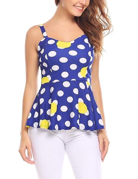Zeagoo Women Sleeveless Flare Peplum Top Pleated Hem Stretch Strap Tank  Cami Tops 331798974