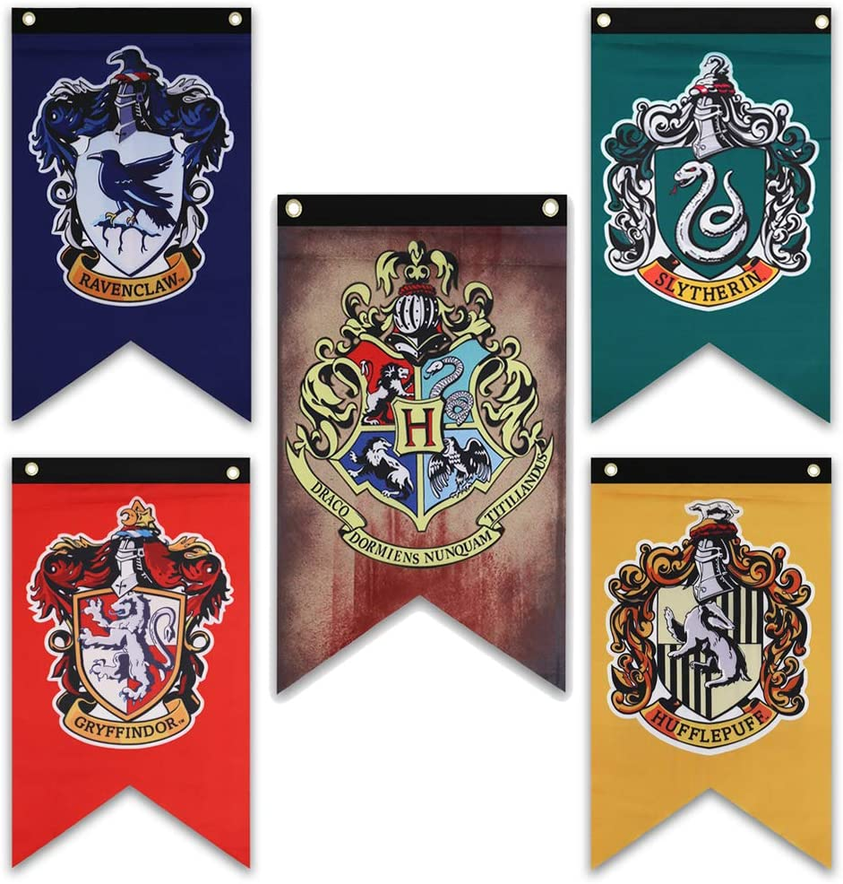 """Harry Potter Hogwarts House Flags - 38"""" x 25"""" Birthday Halloween Christmas Party Gifts - Gryffindor, Slytherin, Hufflepuff, Ravenclaw Flag Banners (5 Piece Set)"""