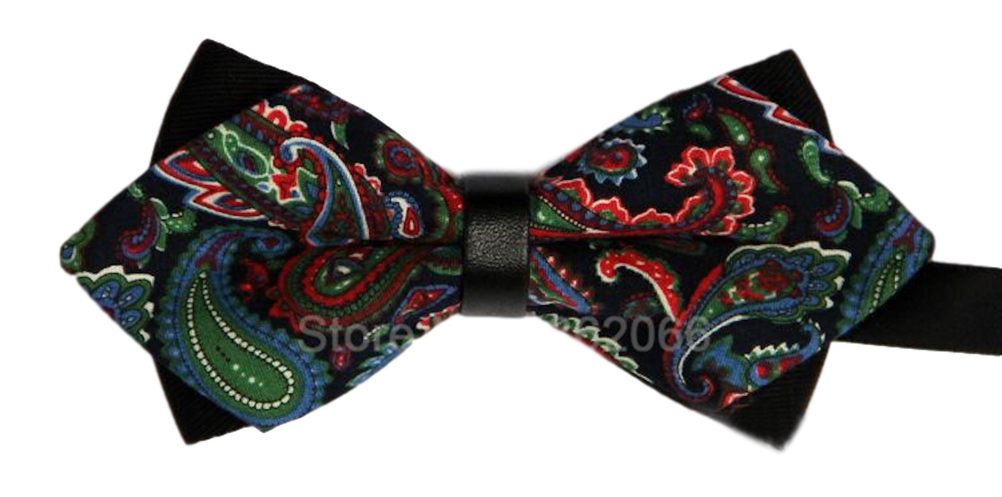 Gazebo Green Pre-Tied Cotton Paisley Floral Wedding Dressy Bow Tie (Green, Blue & Red Paisley)