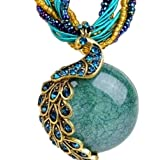 BOLY Women's Vintage Bohemian Millet Clavicle Chain Phoenix Peacock Crystal Opal Statement Pendent Necklace