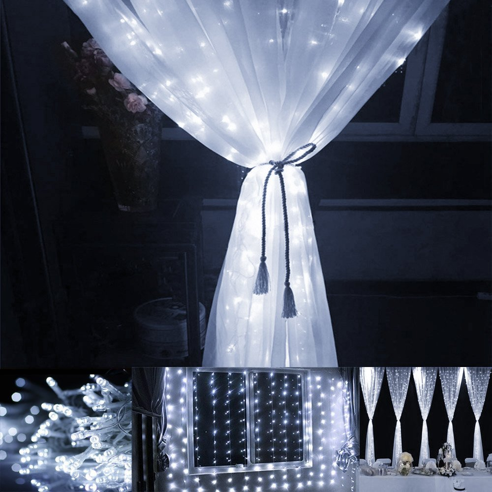 LE LED Window Curtain String Light, 306 LED Icicle Light String, 9.8ft x 9.8ft, 8 Modes Setting, Daylight White Fairy Light String for Indoor Outdoor Wall Decoration Wedding Party Home Garden by Lighting EVER (Image #6)