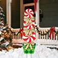"MorTime 44"" Christmas Lollipop Garden Stake Decoration, Lollipop Candy Themed Outdoor Christmas Pathway Decor, Peppermint Yard Lawn Walkway Driveway Holiday Decor (Polyethylene)"