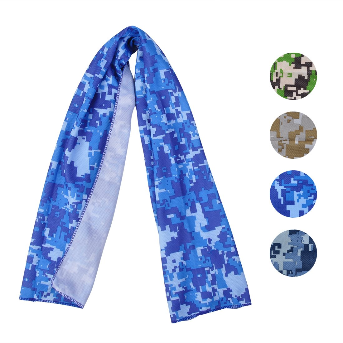 Cooling Towel for Sports, Workout, Fitness, Gym, Yoga, Pilates, Travel, Camping & More, Ice Cold, Camouflage, Multi Colors (CAM-SkyBlue)