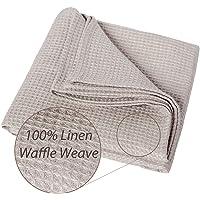 100% Linen Bath Towel - Large Waffle Weave Beach Towel - 72x150 cm Antibacterial Thick Linen Flax Shower Towel