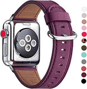 WFEAGL Compatible for iWatch Band 38mm 40mm 42mm 44mm, Full Grain Leather Strap for iWatch Series 4,Series 3,Series 2,Series 1,Edition,Sport (Purple Band+Silver Adapter, 38mm 40mm)