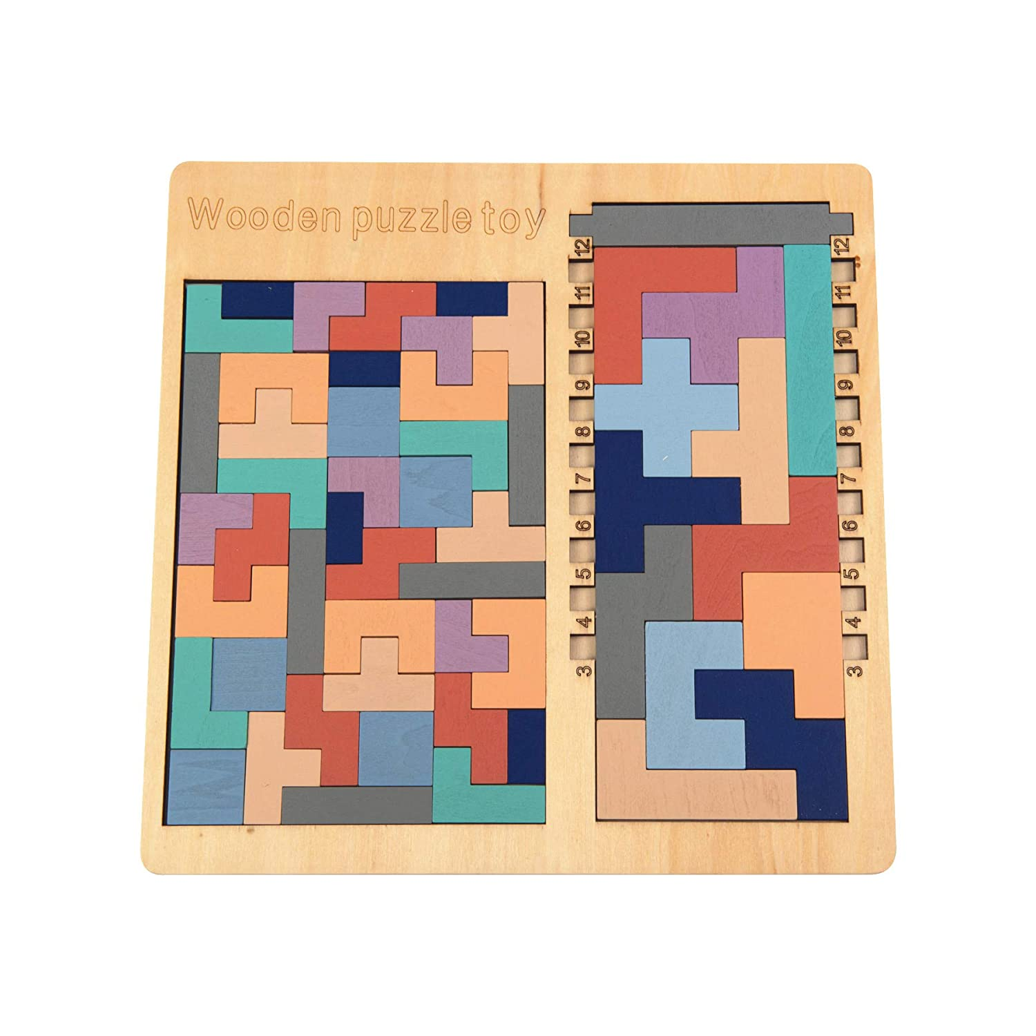 Zoostliss Wooden Tetris Puzzle Brain Teasers Toy Tangram Jigsaw Intelligence Colorful 3D Russian Blocks